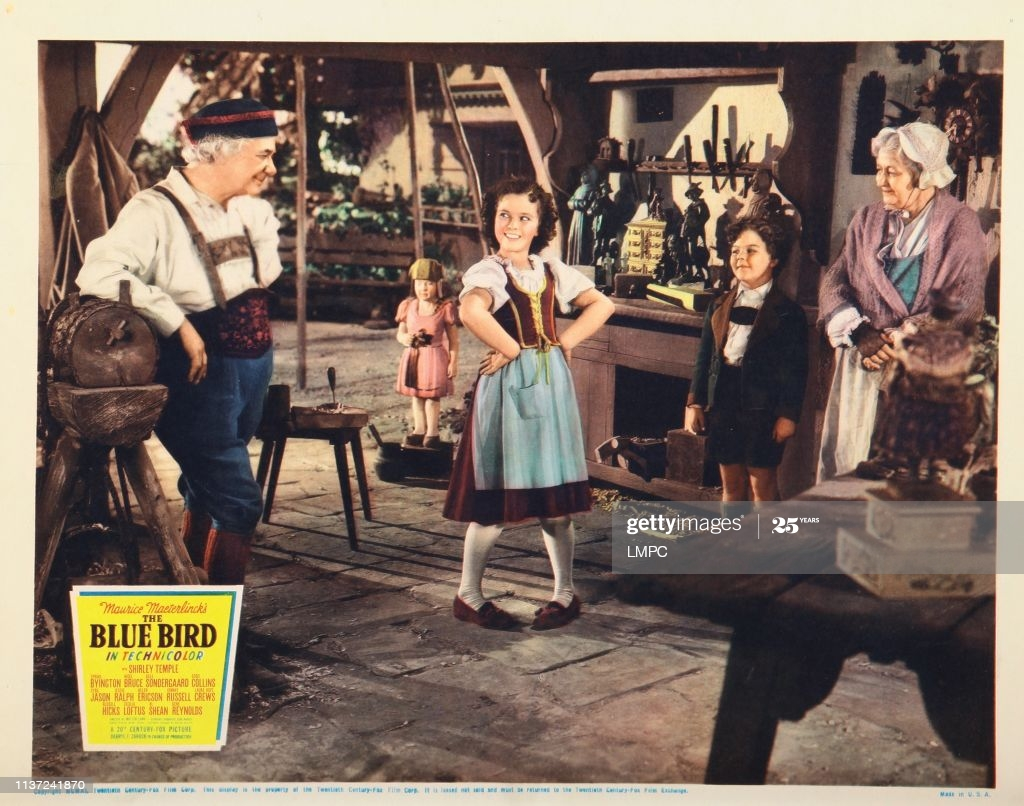 The Blue Bird, lobbycard, from left: Al Shean, Shirley Temple, Johnny Russell, Cecilia Loftus, 1940. (Photo by LMPC via Getty Images)